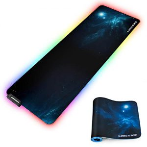 LED RGB Gaming Mouse Pad – 10 Light Modes Extended Computer Keyboard Mat with Durable Stitched Edges and Non-Slip Rubber Base, High-Performance Large Mouse Pad Optimized for Gamer 31.5X11.8X0.15Inch