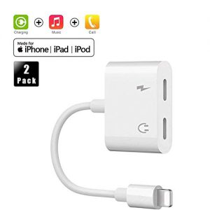 Headphone Adapter for iPhone Adaptor 7/7Plus/8/8Plus/X/XR/XS Car Charger Cables [Audio+Charge+Call+Volume Control] Charger Cables & Audio Connector Dongle Adaptor Support for iOS 12 or up (2 Pack)