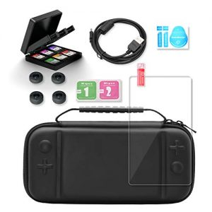 Accessories Kit for Nintendo Switch Lite, Travel Carry Case for Nintendo Switch Lite with Screen Protector for Nintendo Switch Lite, Game Card Case, Charging Cable (4.92ft), 4 Thumb Grips (10 in 1)