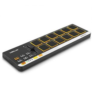 USB MIDI Controller Drum Pad – Mini Portable Beat Maker Workstation Equipment w/ 12 Drum Pads, DJ Fader Slider & Transport Buttons – Control any DAW Software Kit for Laptop Recording – Pyle PMIDIPD20