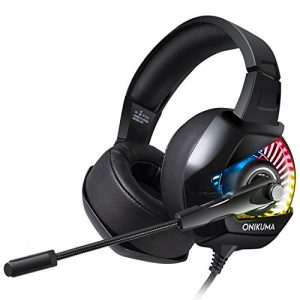 ONIKUMA Gaiming Headset for Gaming Fancier,4D Noise Cancelling Bass Sound, 7.1 Surround Sound with 50mm Driver, 16.8 Million Chroma RGB Backlit, Protein Earmuffs for PS4, Xbox One, PC, Nintendo Switch