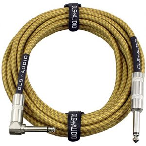 GLS Audio 20 Foot Guitar Instrument Cable – Right Angle 1/4 Inch TS to Straight 1/4 Inch TS 20 FT Brown Yellow Tweed Cloth Jacket – 20 Feet Pro Cord 20′ Phono 6.3mm – SINGLE