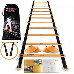Scandinavian Sports Speed Training Set – Agility Ladder, Jump Rope, Sport Cones and Exercise Folder – Premium Training Tool Set for Faster Footwork and Better Movement Skills