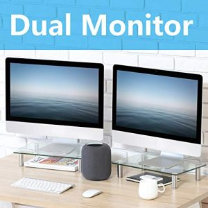 FITUEYES Clear Computer Monitor Riser Dual Desktop Stand Clamp for Xbox One Component Flat Screen TV 2 Pack DT103803GC