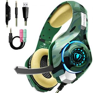 Beexcellent Gaming Headset for PS4 PC Xbox One, Stereo PS4 Gaming Headset with Noise Isolation Mic, Memory Foam Earcup, Thumb Wheel Volume Switch, Lightweight Xbox One Headset for Laptop Tablet-Camo