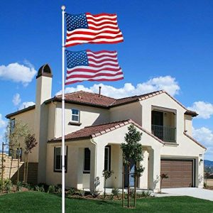 NSdirect Telescopic Aluminum Flagpole Flag Pole Kit – Can Fly 2 Flags – Free 3'x5′ US American Flag – Gold Ball Fly Top Finial – Outdoor Home Garden Festival Décor (20 FT)