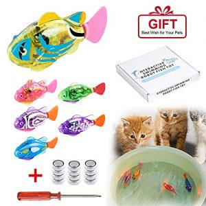 [2019 New] Interactive Swimming Robot Fish Toys for Cat/Dog(6 Pcs), Fish Tank Toy,Activated in Water with LED Light, Swimming Bath Plastic Fish Toy Gift to Stimulate Your Pet's Hunter Instincts