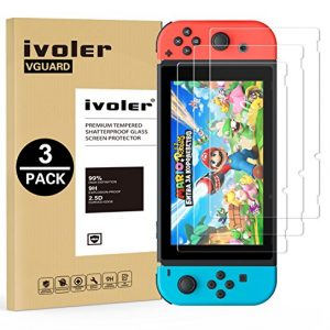 [3 Pack] Screen Protector Tempered Glass for Nintendo Switch, iVoler Transparent HD Clear Anti-Scratch Screen Protector Compatible Nintendo Switch, Life Time Replacement Warranty